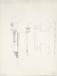 Plan and section of south end window in Muhafez Khan's mosque. Ahmadabad